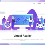 Virtual Augmented Reality Flat Concept